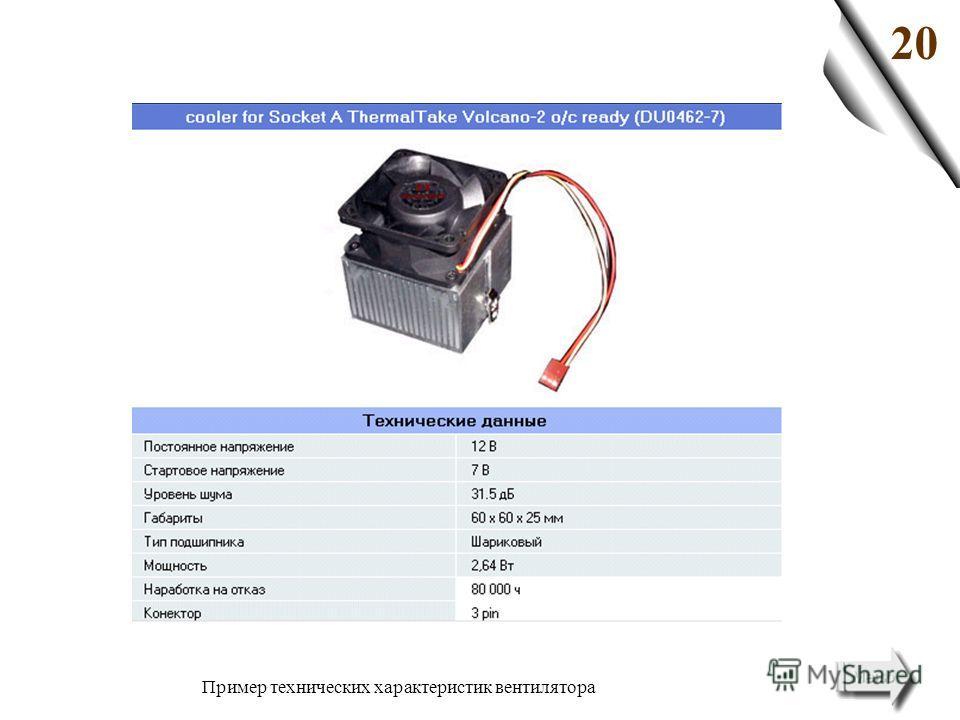 20 Пример технических характеристик вентилятора