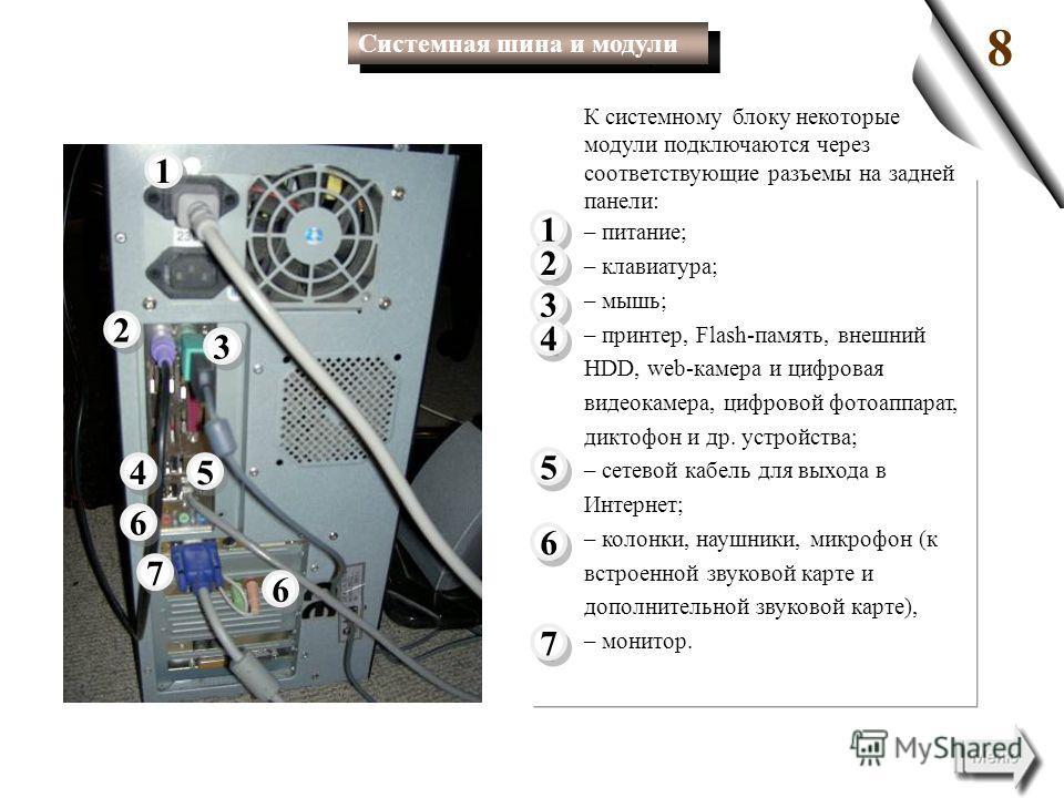 8 2 2 1 1 4 4 3 3 1 1 2 2 3 3 4 4 5 5 6 6 7 7 5 5 7 7 6 6 6 6 К системному блоку некоторые модули подключаются через соответствующие разъемы на задней панели: – питание; – клавиатура; – мышь; – принтер, Flash-память, внешний HDD, web-камера и цифрова