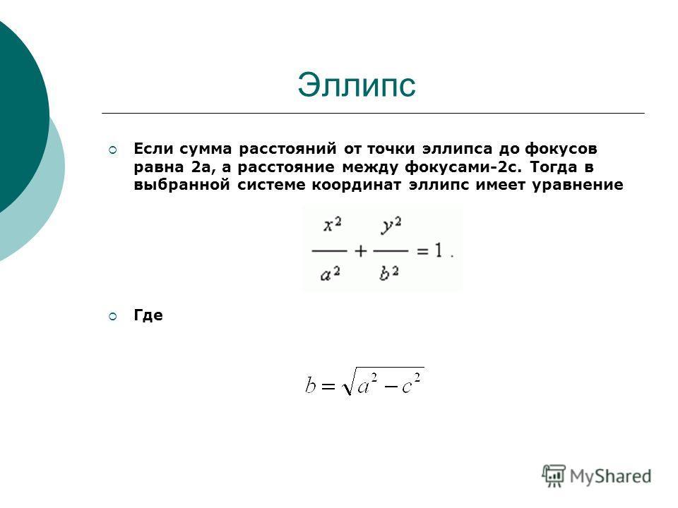 Если сумма расстояний от точки эллипса до фокусов равна 2а, а расстояние между фокусами-2с. Тогда в выбранной системе координат эллипс имеет уравнение Где