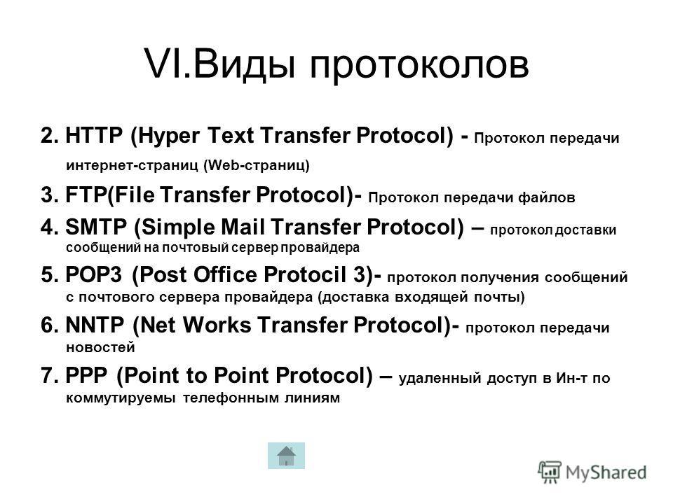 VI.Виды протоколов 2. HTTP (Hyper Text Transfer Protocol) - Протокол передачи интернет-страниц (Web-страниц) 3. FTP(File Transfer Protocol)- Протокол передачи файлов 4. SMTP (Simple Mail Transfer Protocol) – протокол доставки сообщений на почтовый се
