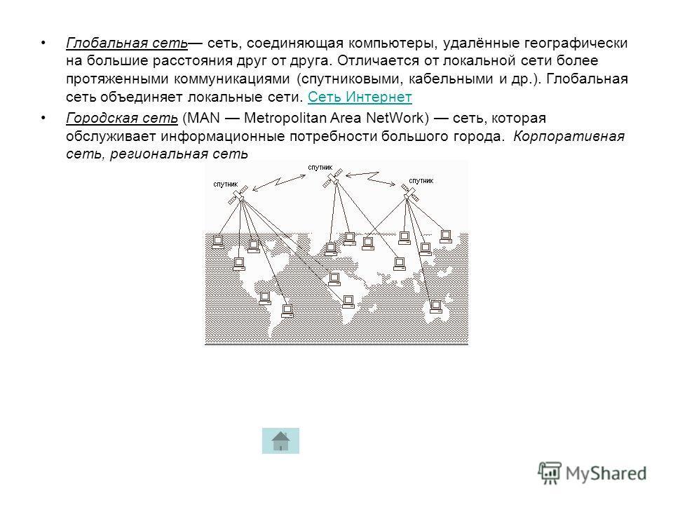 Глобальная сеть сеть, соединяющая компьютеры, удалённые географически на большие расстояния друг от друга. Отличается от локальной сети более протяженными коммуникациями (спутниковыми, кабельными и др.). Глобальная сеть объединяет локальные сети. Сет
