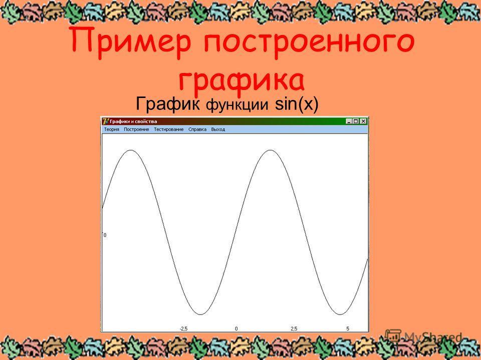 Пример построенного графика График функции sin(x)