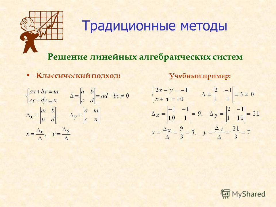 Традиционные методы Классический подход: Учебный пример: Решение линейных алгебраических систем