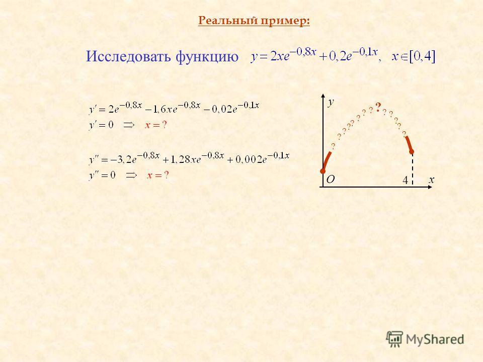 Реальный пример: y О ? ? ? ? ? ? ? ? ? ? ? ? ? ? x 4 Исследовать функцию