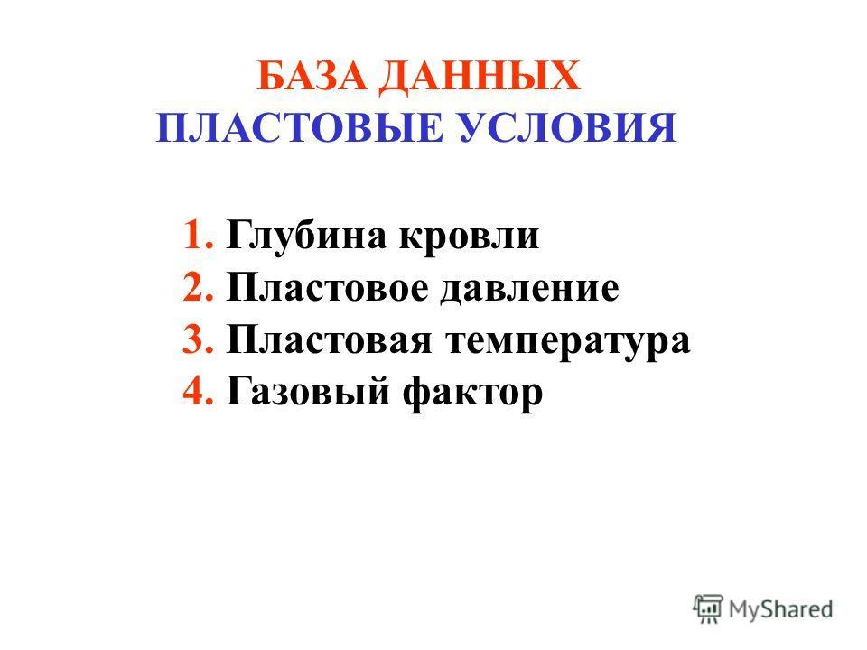БАЗА ДАННЫХ ПЛАСТОВЫЕ УСЛОВИЯ 1. Глубина кровли 2. Пластовое давление 3. Пластовая температура 4. Газовый фактор