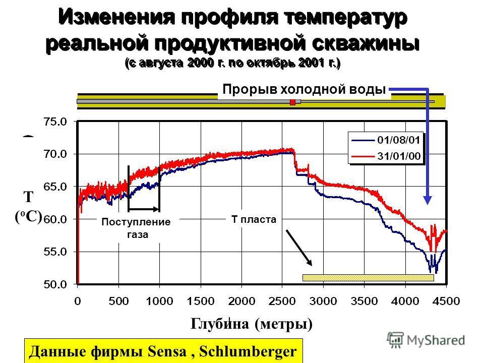 Изменения профиля температур реальной продуктивной скважины (с августа 2000 г. по октябрь 2001 г.) Изменения профиля температур реальной продуктивной скважины (с августа 2000 г. по октябрь 2001 г.) Поступление газа Т пласта Прорыв холодной воды Данны