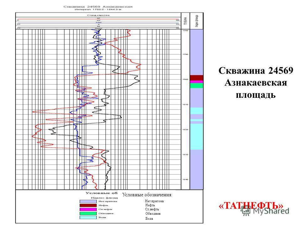 Скважина 24569 Азнакаевская площадь Условные обозначения Нет притока Нефть Сл.нефть Обводнен Вода «ТАТНЕФТЬ»