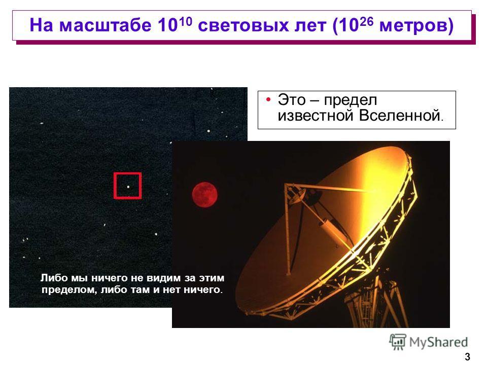 3 На масштабе 10 10 световых лет (10 26 метров) Это – предел известной Вселенной. Либо мы ничего не видим за этим пределом, либо там и нет ничего.