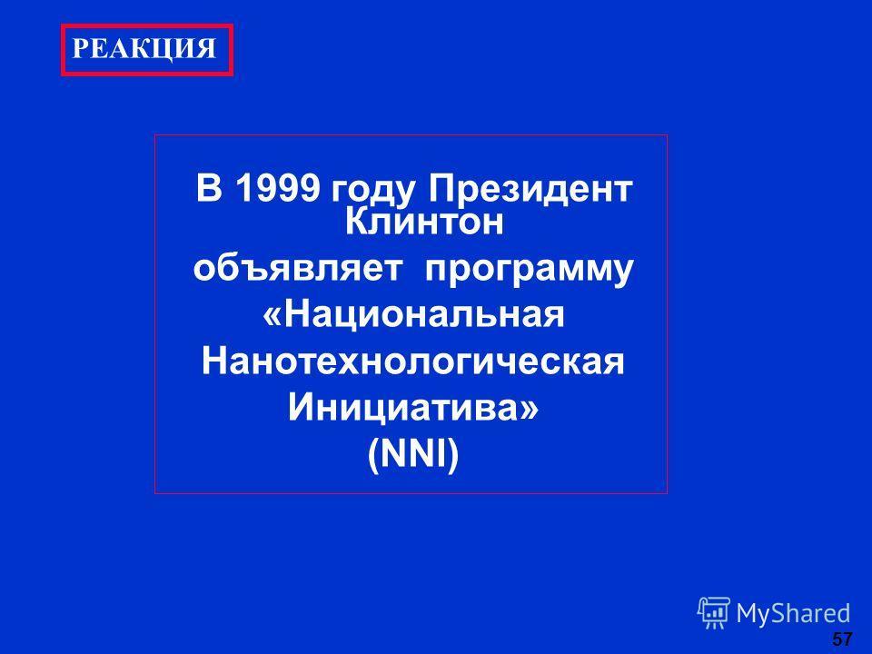 57 В 1999 году Президент Клинтон объявляет программу «Национальная Нанотехнологическая Инициатива» (NNI) РЕАКЦИЯ