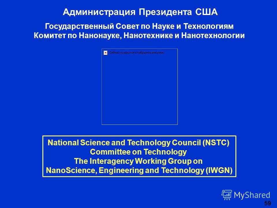 59 National Science and Technology Council (NSTC) Committee on Technology The Interagency Working Group on NanoScience, Engineering and Technology (IWGN) Администрация Президента США Государственный Совет по Науке и Технологиям Комитет по Нанонауке,