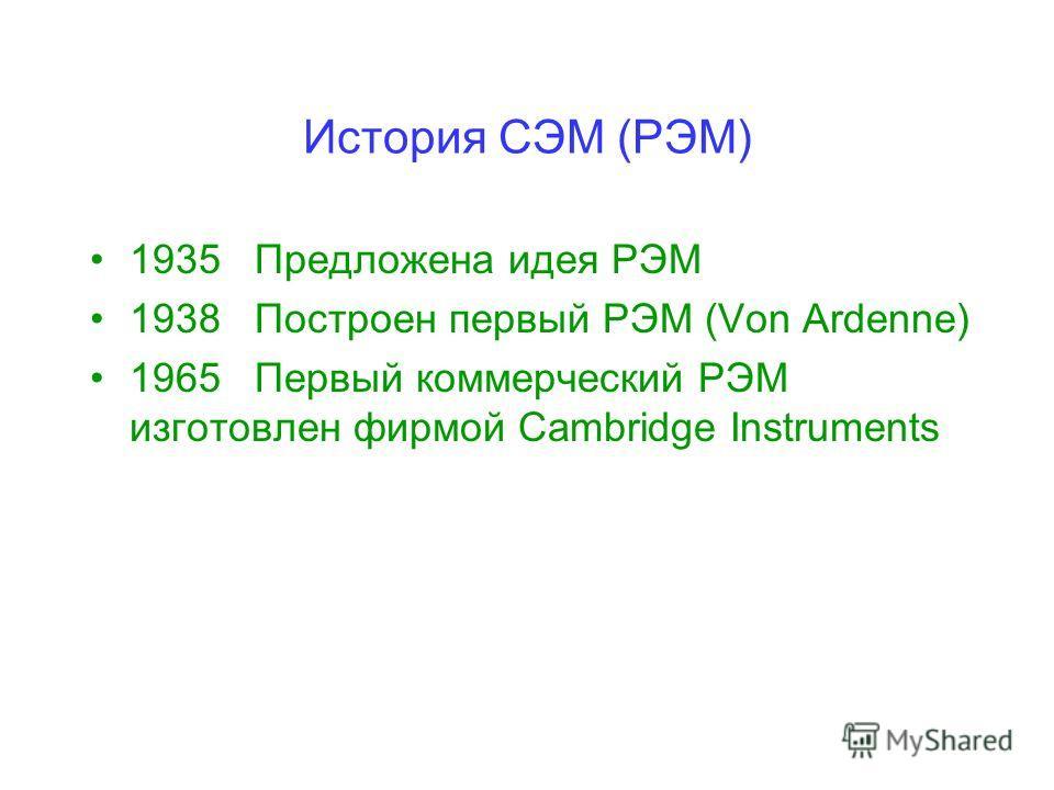 История СЭМ (РЭМ) 1935 Предложена идея РЭМ 1938 Построен первый РЭМ (Von Ardenne) 1965 Первый коммерческий РЭМ изготовлен фирмой Cambridge Instruments