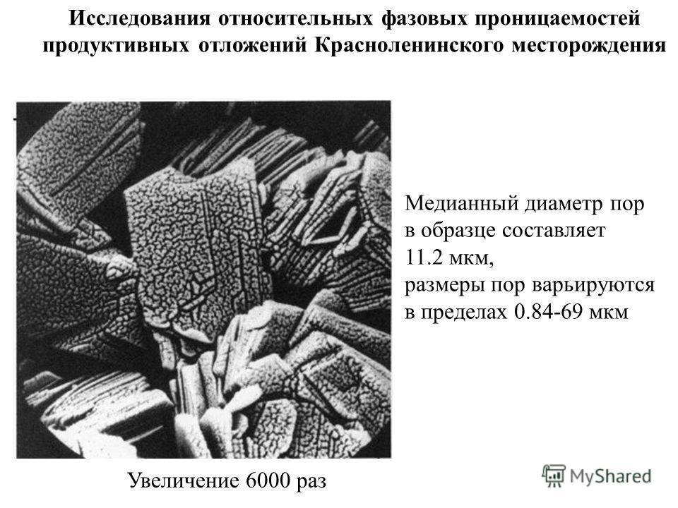 Увеличение 6000 раз Медианный диаметр пор в образце составляет 11.2 мкм, размеры пор варьируются в пределах 0.84-69 мкм Исследования относительных фазовых проницаемостей продуктивных отложений Красноленинского месторождения