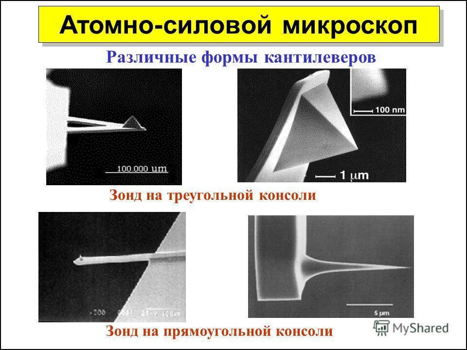 Атомно-силовой микроскоп Различные формы кантилеверов Зонд на треугольной консоли Зонд на прямоугольной консоли