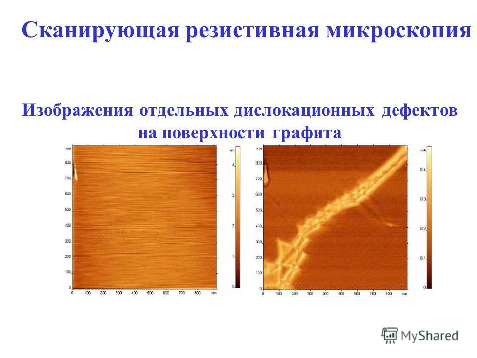 Сканирующая резистивная микроскопия АСМ в контактном режиме с одновременным измерением тока через зонд Изображения отдельных дислокационных дефектов на поверхности графита Рельеф поверхности Распределение тока по поверхности