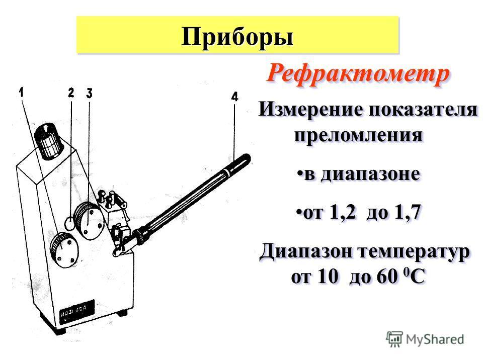 ПриборыПриборы РефрактометрРефрактометр Измерение показателя преломления Измерение показателя преломления в диапазонев диапазоне от 1,2 до 1,7от 1,2 до 1,7 Диапазон температур от 10 до 60 0 С Диапазон температур от 10 до 60 0 С Измерение показателя п