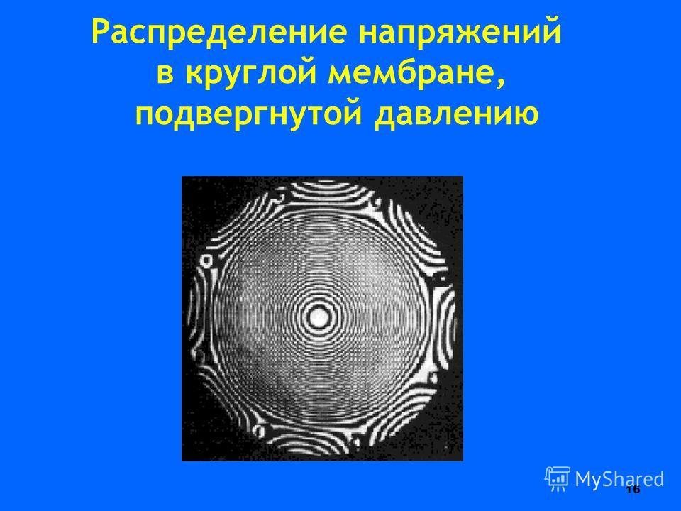 16 Распределение напряжений в круглой мембране, подвергнутой давлению