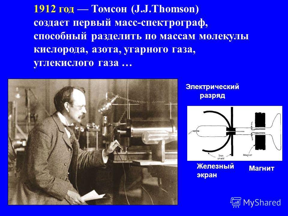 1912 год Томсон (J.J.Thomson) создает первый масс-спектрограф, способный разделить по массам молекулы кислорода, азота, угарного газа, углекислого газа … Магнит Железный экран Электрический разряд