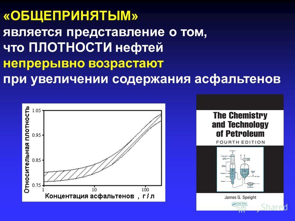 «ОБЩЕПРИНЯТЫМ» является представление о том, что ПЛОТНОСТИ нефтей непрерывно возрастают при увеличении содержания асфальтенов