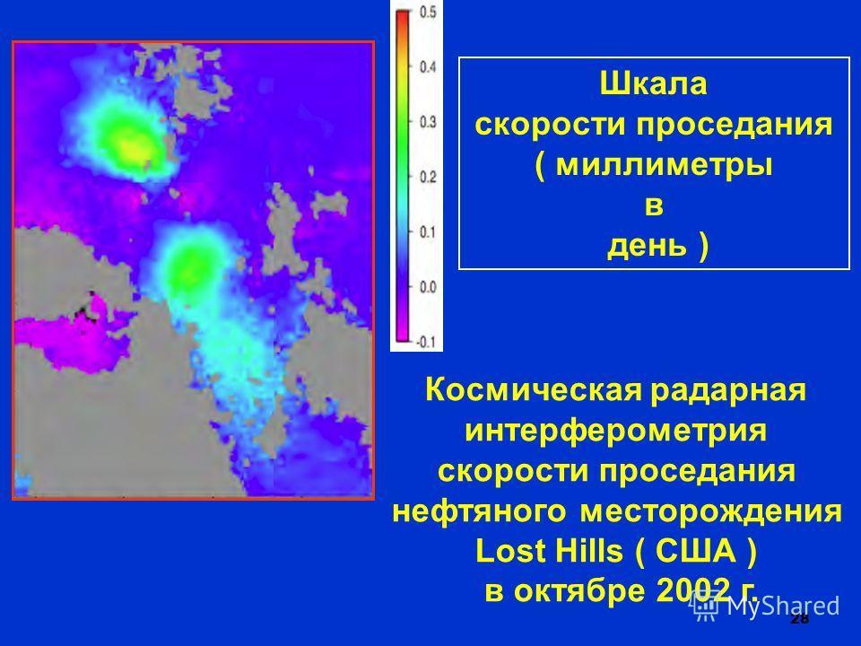28 Космическая радарная интерферометрия скорости проседания нефтяного месторождения Lost Hills ( США ) в октябре 2002 г. Шкала скорости проседания ( миллиметры в день )