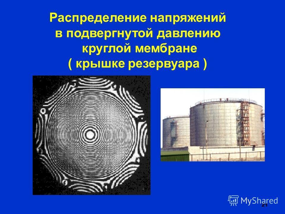 21 Распределение напряжений в подвергнутой давлению круглой мембране ( крышке резервуара )