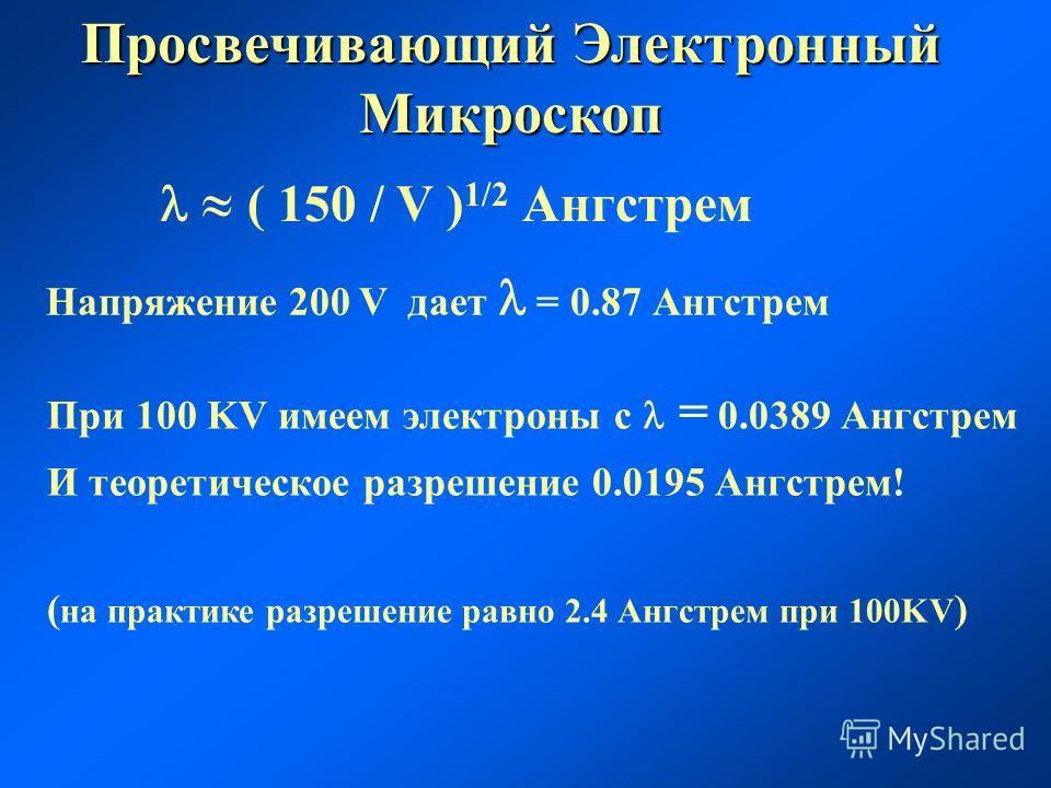 ( 150 / V ) 1/2 Ангстрем Напряжение 200 V дает = 0.87 Ангстрем При 100 KV имеем электроны с = 0.0389 Ангстрем И теоретическое разрешение 0.0195 Ангстрем! ( на практике разрешение равно 2.4 Ангстрем при 100KV ) Просвечивающий Электронный Микроскоп