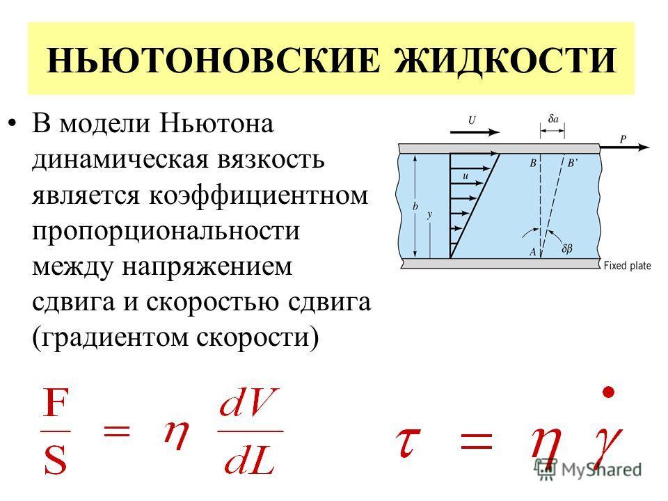 НЬЮТОНОВСКИЕ ЖИДКОСТИ В модели Ньютона динамическая вязкость является коэффициентном пропорциональности между напряжением сдвига и скоростью сдвига (градиентом скорости)