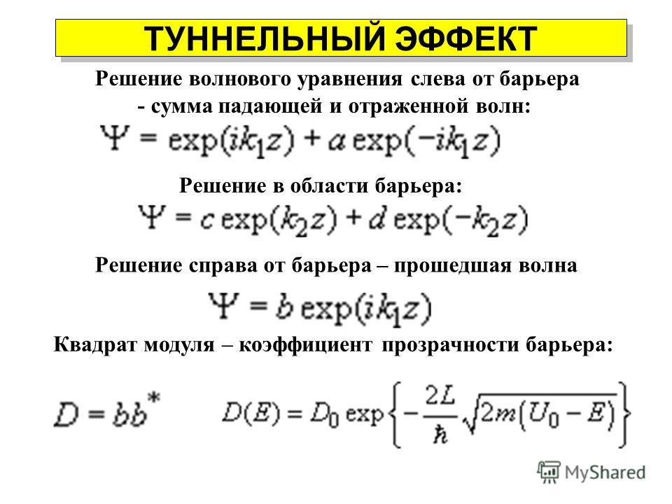 ТУННЕЛЬНЫЙ ЭФФЕКТ Падение пучка электронов на прямоугольный потенциальный барьер высотой U 0, при котором полная энергия частиц E