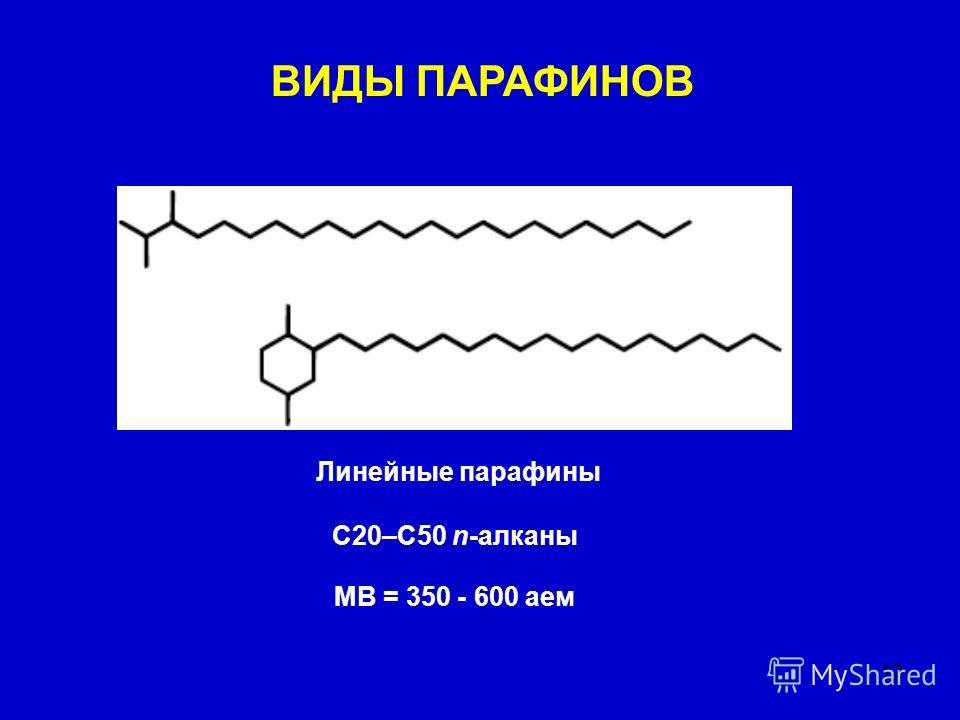 12 Линейные парафины C20–C50 n-алканы MВ = 350 - 600 аем ВИДЫ ПАРАФИНОВ