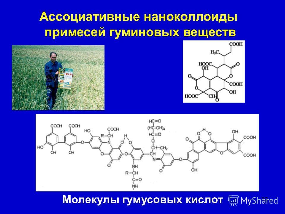 37 Ассоциативные наноколлоиды примесей гуминовых веществ Молекулы гумусовых кислот