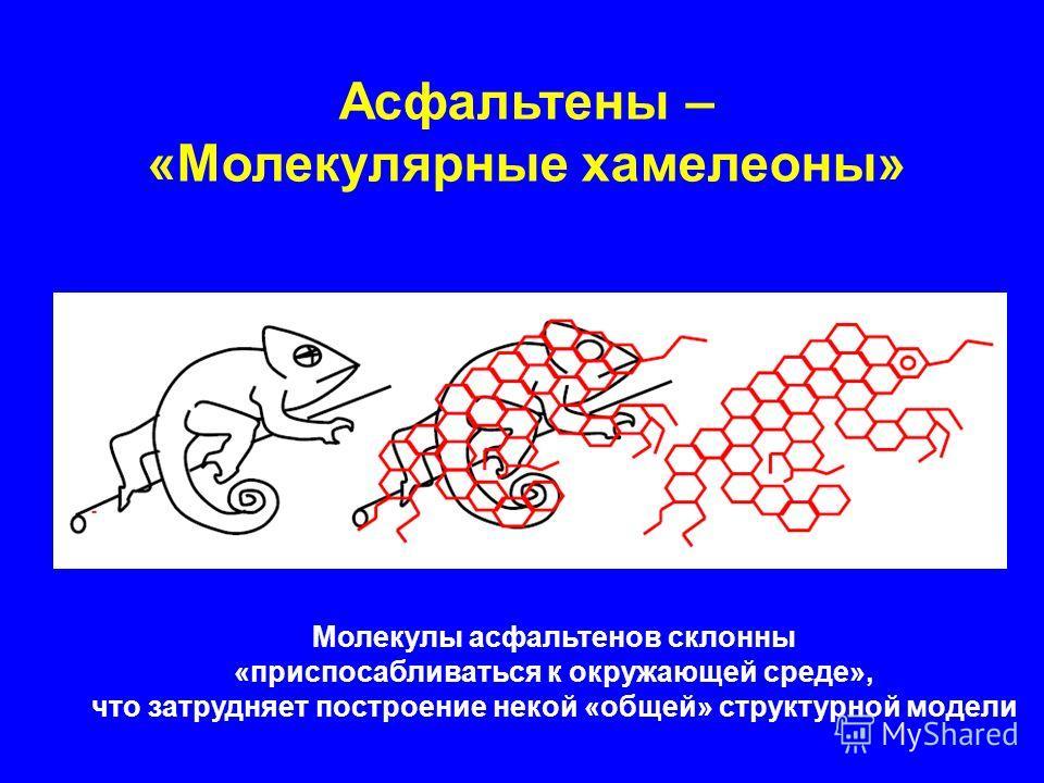 Асфальтены – «Молекулярные хамелеоны» Молекулы асфальтенов склонны «приспосабливаться к окружающей среде», что затрудняет построение некой «общей» структурной модели