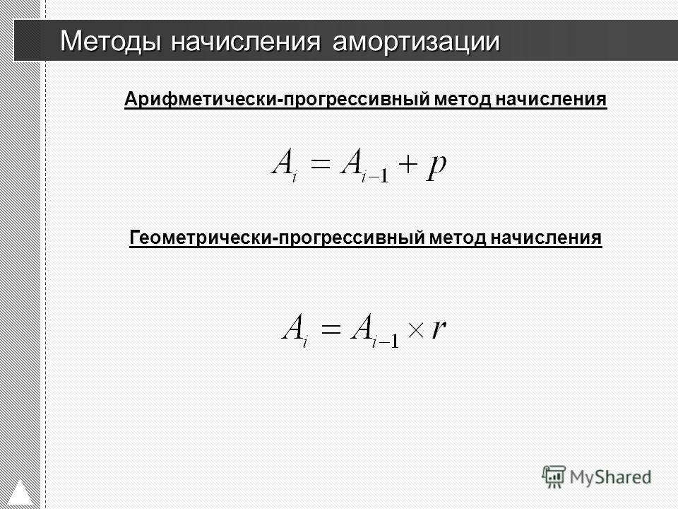 Арифметически-прогрессивный метод начисления Методы начисления амортизации Методы начисления амортизации Геометрически-прогрессивный метод начисления