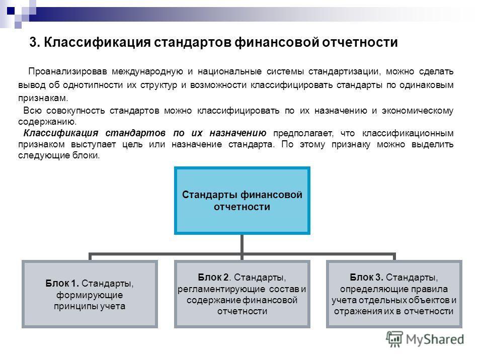 3. Классификация стандартов финансовой отчетности Проанализировав международную и национальные системы стандартизации, можно сделать вывод об однотипности их структур и возможности классифицировать стандарты по одинаковым признакам. Всю совокупность
