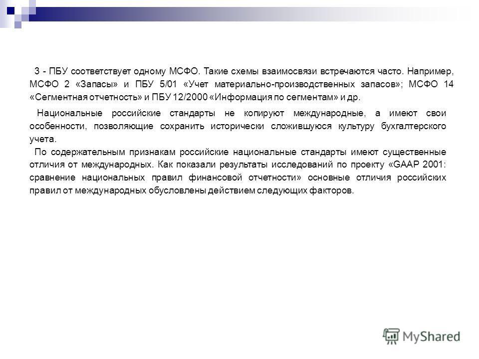3 - ПБУ соответствует одному МСФО. Такие схемы взаимосвязи встречаются часто. Например, МСФО 2 «Запасы» и ПБУ 5/01 «Учет материально-производственных запасов»; МСФО 14 «Сегментная отчетность» и ПБУ 12/2000 «Информация по сегментам» и др. Национальные