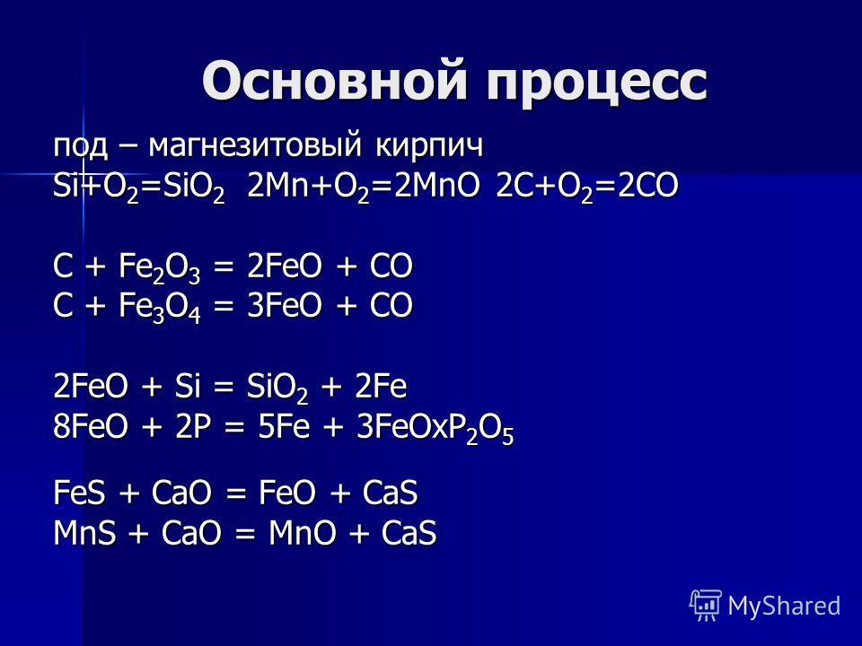Основной процесс под – магнезитовый кирпич Si+O 2 =SiO 2 2Mn+O 2 =2MnO 2C+O 2 =2CO C + Fe 2 O 3 = 2FeO + CO C + Fe 3 O 4 = 3FeO + CO 2FeO + Si = SiO 2 + 2Fe 8FeO + 2P = 5Fe + 3FeOxP 2 O 5 FeS + CaO = FeO + CaS MnS + CaO = MnO + CaS