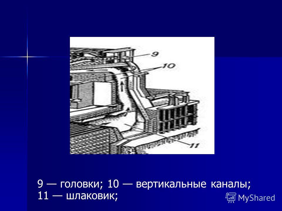 9 головки; 10 вертикальные каналы; 11 шлаковик;