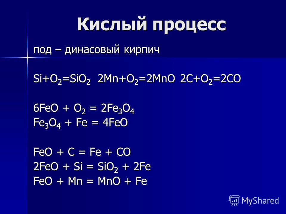Кислый процесс под – динасовый кирпич Si+O 2 =SiO 2 2Mn+O 2 =2MnO 2C+O 2 =2CO 6FeO + O 2 = 2Fe 3 O 4 Fe 3 O 4 + Fe = 4FeO FeO + C = Fe + CO 2FeO + Si = SiO 2 + 2Fe FeO + Mn = MnO + Fe