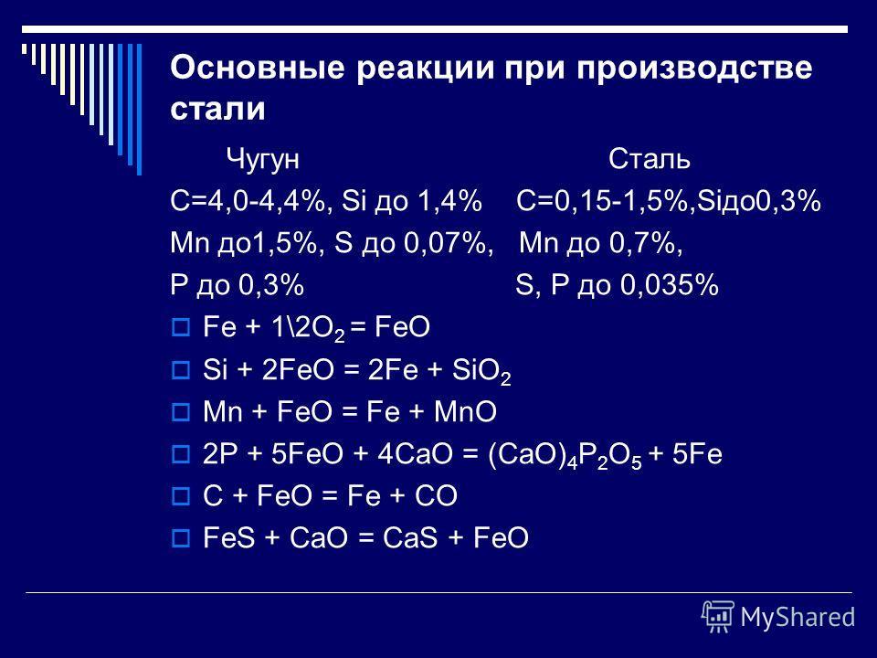 Основные реакции при производстве стали Чугун Сталь С=4,0-4,4%, Si до 1,4% С=0,15-1,5%,Siдо0,3% Mn до1,5%, S до 0,07%, Mn до 0,7%, P до 0,3% S, Р до 0,035% Fe + 1\2O 2 = FeO Si + 2FeO = 2Fe + SiO 2 Mn + FeO = Fe + MnO 2P + 5FeO + 4CaO = (CaO) 4 P 2 O