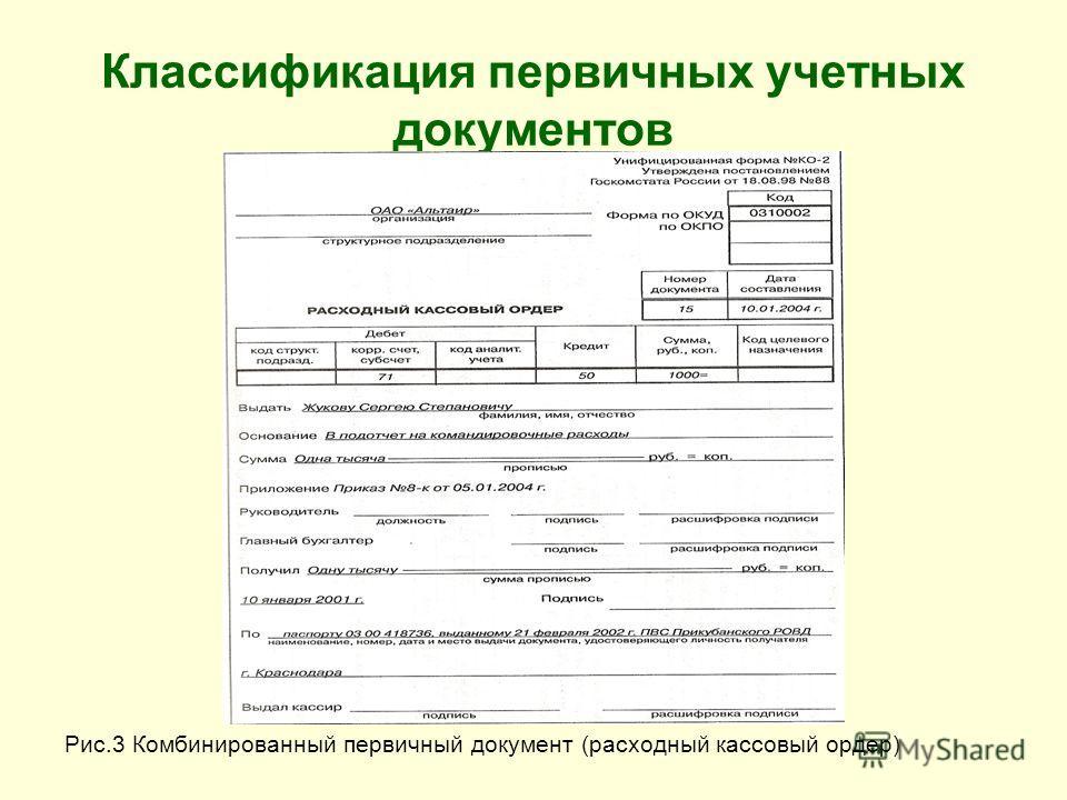 Классификация первичных учетных документов Рис.3 Комбинированный первичный документ (расходный кассовый ордер)