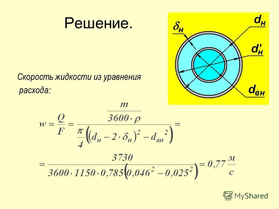Решение. Скорость жидкости из уравнения расхода: