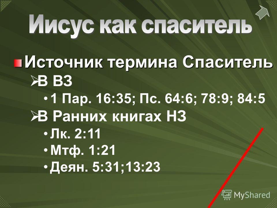 В Ранних книгах НЗ Лк. 2:11 Мтф. 1:21 Деян. 5:31;13:23 Источник термина Спаситель В ВЗ 1 Пар. 16:35; Пс. 64:6; 78:9; 84:5