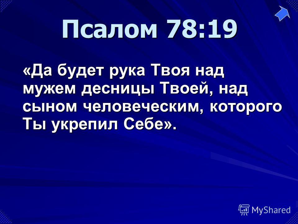 «Да будет рука Твоя над мужем десницы Твоей, над сыном человеческим, которого Ты укрепил Себе». Псалом 78:19