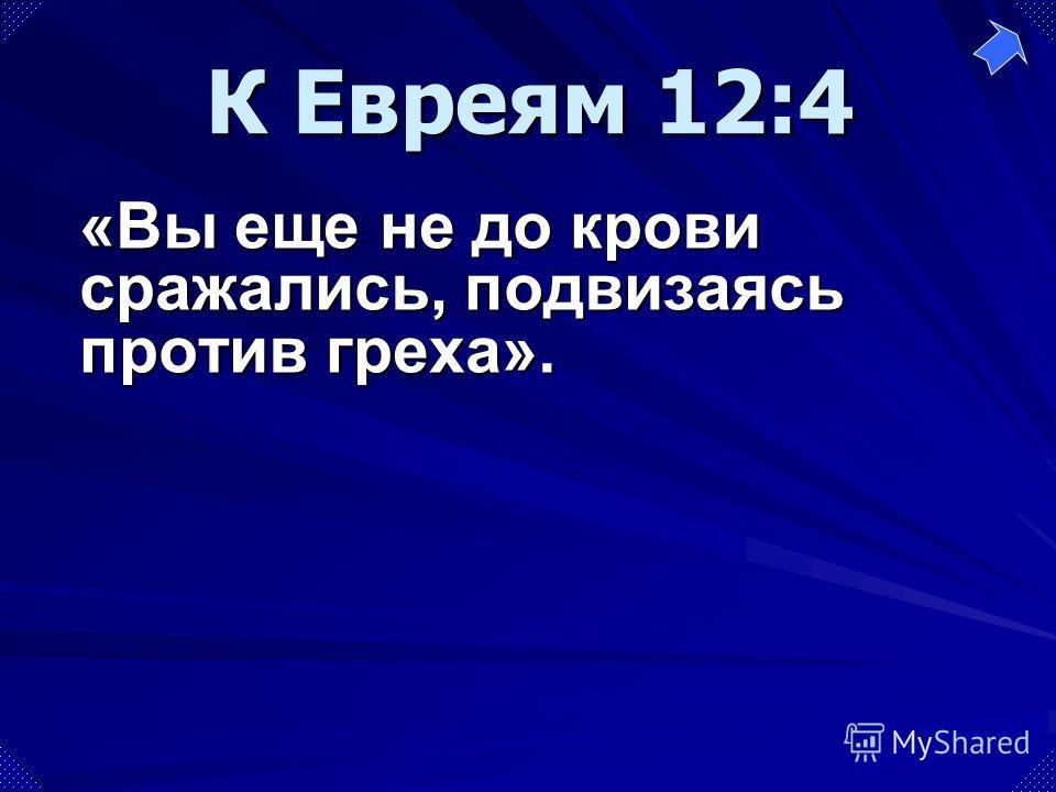 «Вы еще не до крови сражались, подвизаясь против греха». К Евреям 12:4
