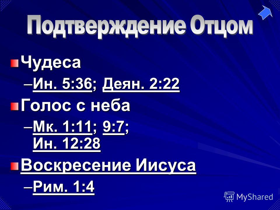 Чудеса –Ин. 5:36; Деян. 2:22 Ин. 5:36Деян. 2:22Ин. 5:36Деян. 2:22 Голос с неба –Мк. 1:11; 9:7; Ин. 12:28 Мк. 1:119:7 Ин. 12:28Мк. 1:119:7 Ин. 12:28 Воскресение Иисуса Воскресение Иисуса –Рим. 1:4 Рим. 1:4Рим. 1:4