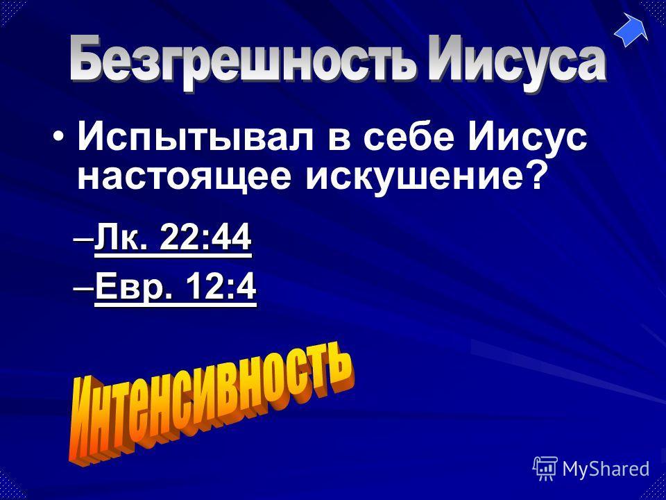 –Лк. 22:44 Лк. 22:44Лк. 22:44 –Евр. 12:4 Евр. 12:4Евр. 12:4 Испытывал в себе Иисус настоящее искушение?