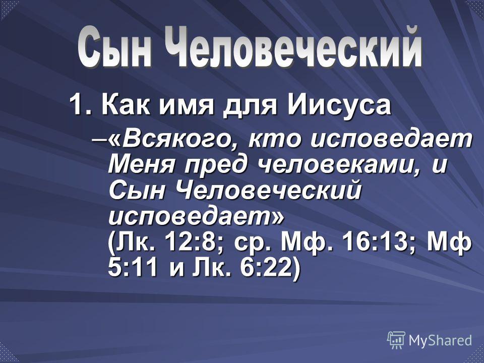 1. Как имя для Иисуса –«Всякого, кто исповедает Меня пред человеками, и Сын Человеческий исповедает» (Лк. 12:8; ср. Мф. 16:13; Мф 5:11 и Лк. 6:22)