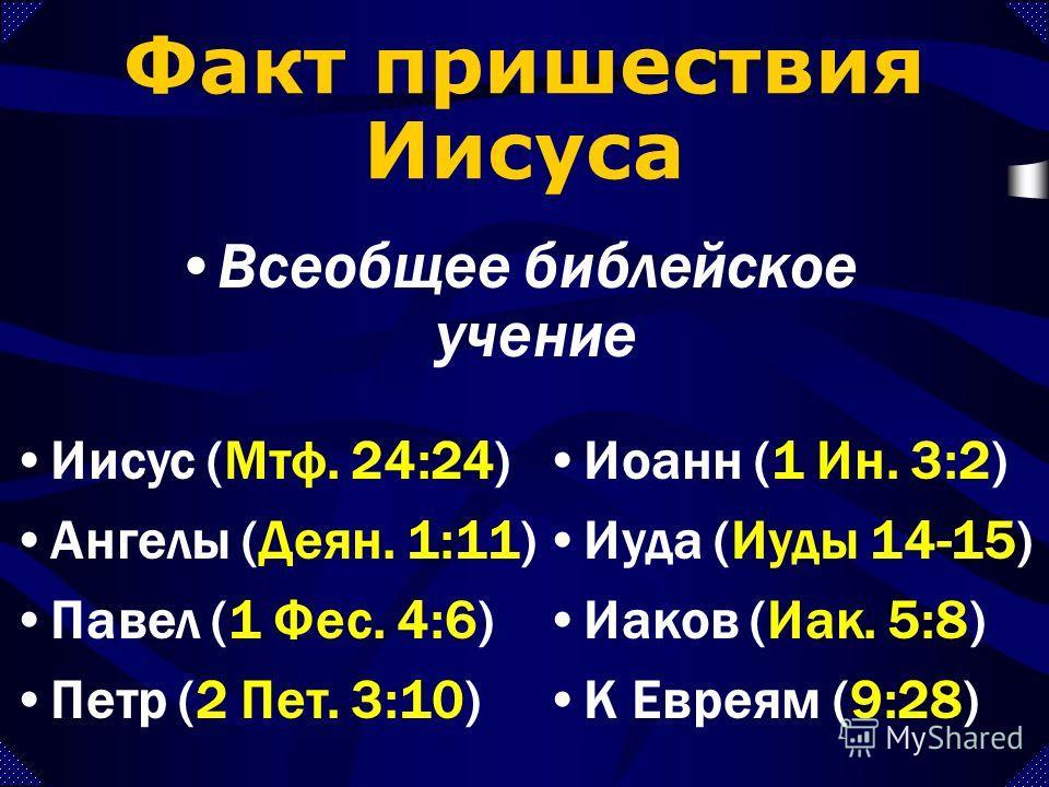 Факт пришествия Иисуса Всеобщее библейское учение Иов (Иов 19:25-26) Даниил (Дан. 7:13-14) Захария (Зах. 14:4) Малахия (Мал. 3:1-2)