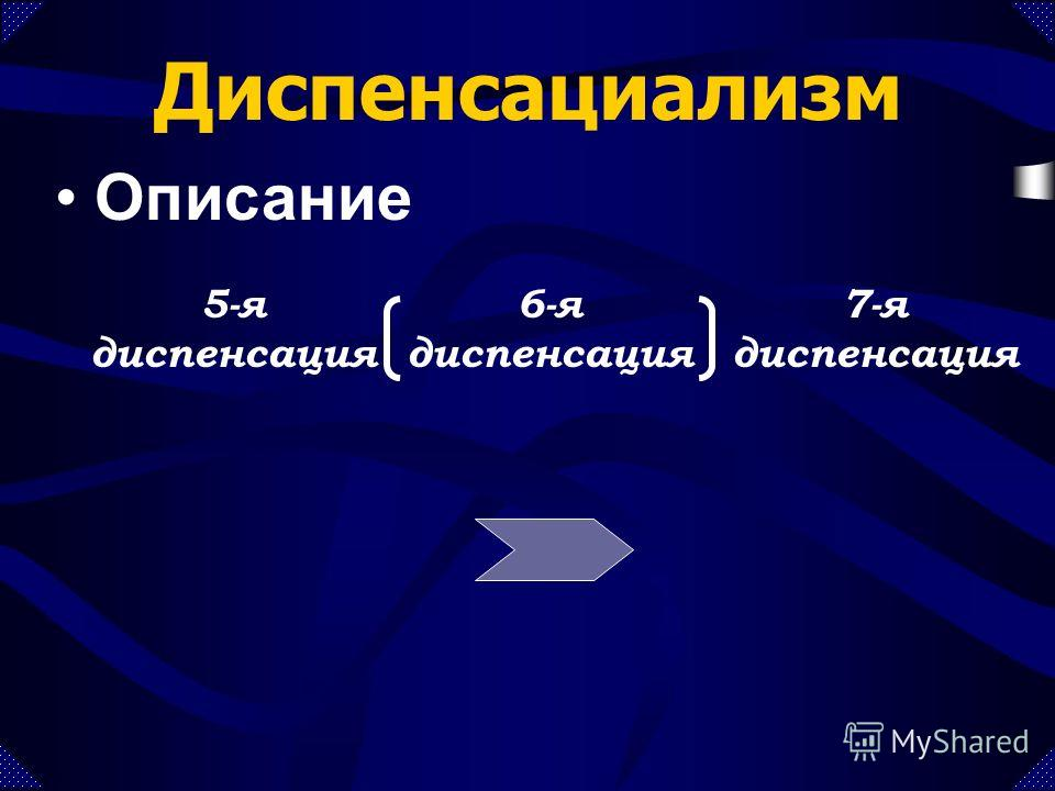 5-я диспенсация 6-я диспенсация 7-я диспенсация Диспенсациализм Описание