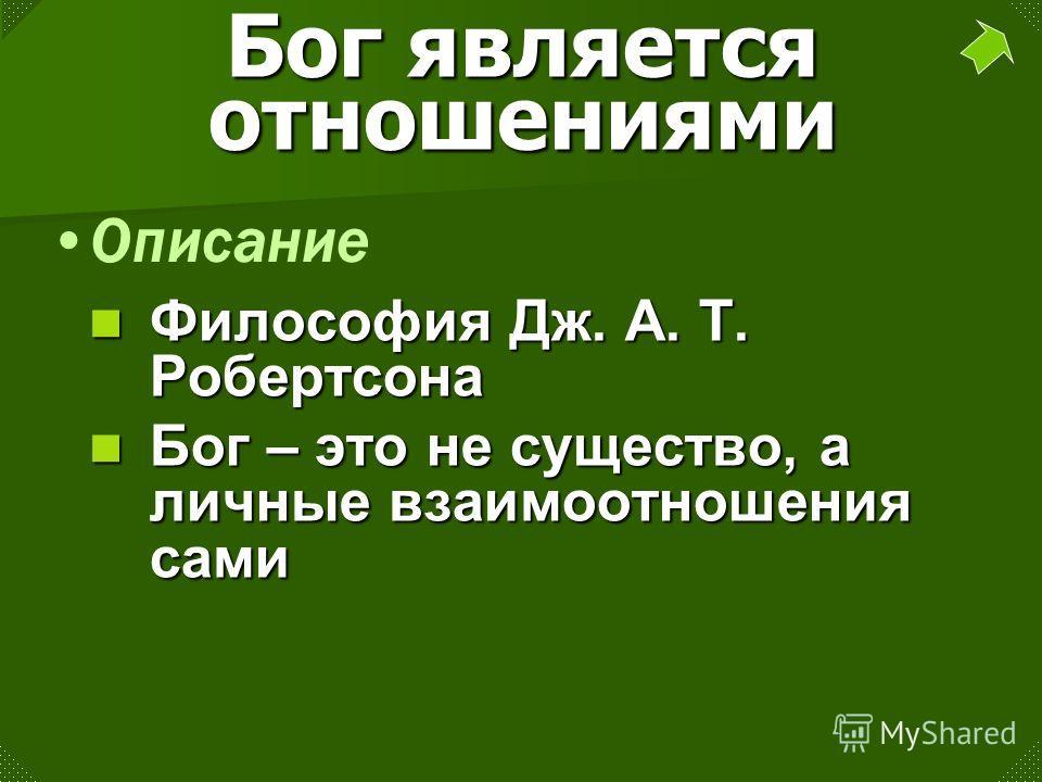 Бог является отношениями Философия Дж. A. T. Робертсона Бог – это не существо, а личные взаимоотношения сами Описание