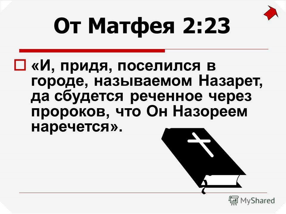 «И, придя, поселился в городе, называемом Назарет, да сбудется реченное через пророков, что Он Назореем наречется». От Матфея 2:23