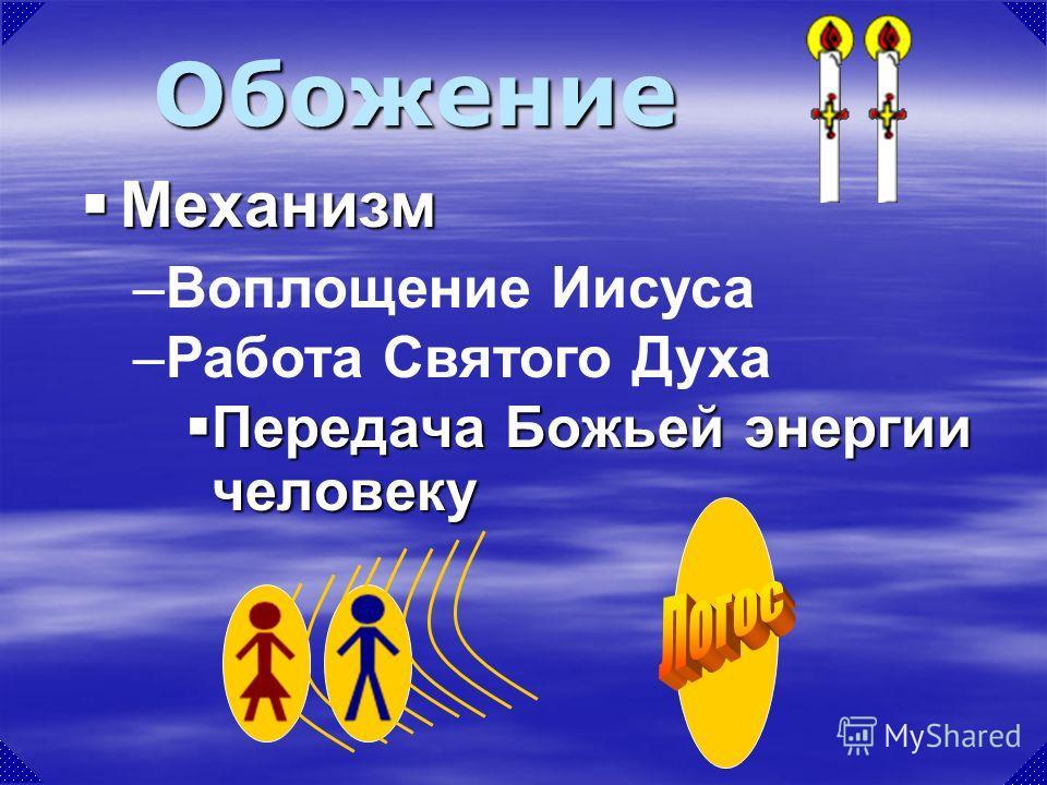 Передача Божьей энергии человеку Передача Божьей энергии человеку Обожение –Воплощение Иисуса –Работа Святого Духа Механизм Механизм